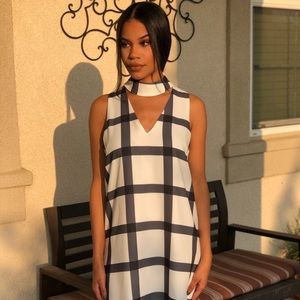 Do + Be checkered black white choker dress small